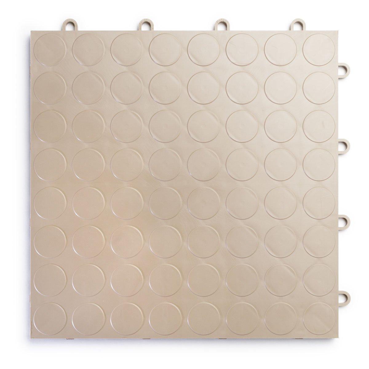 RaceDeck CircleTrac, Durable Interlocking Modular Garage Flooring Tile (12 Pack), Beige