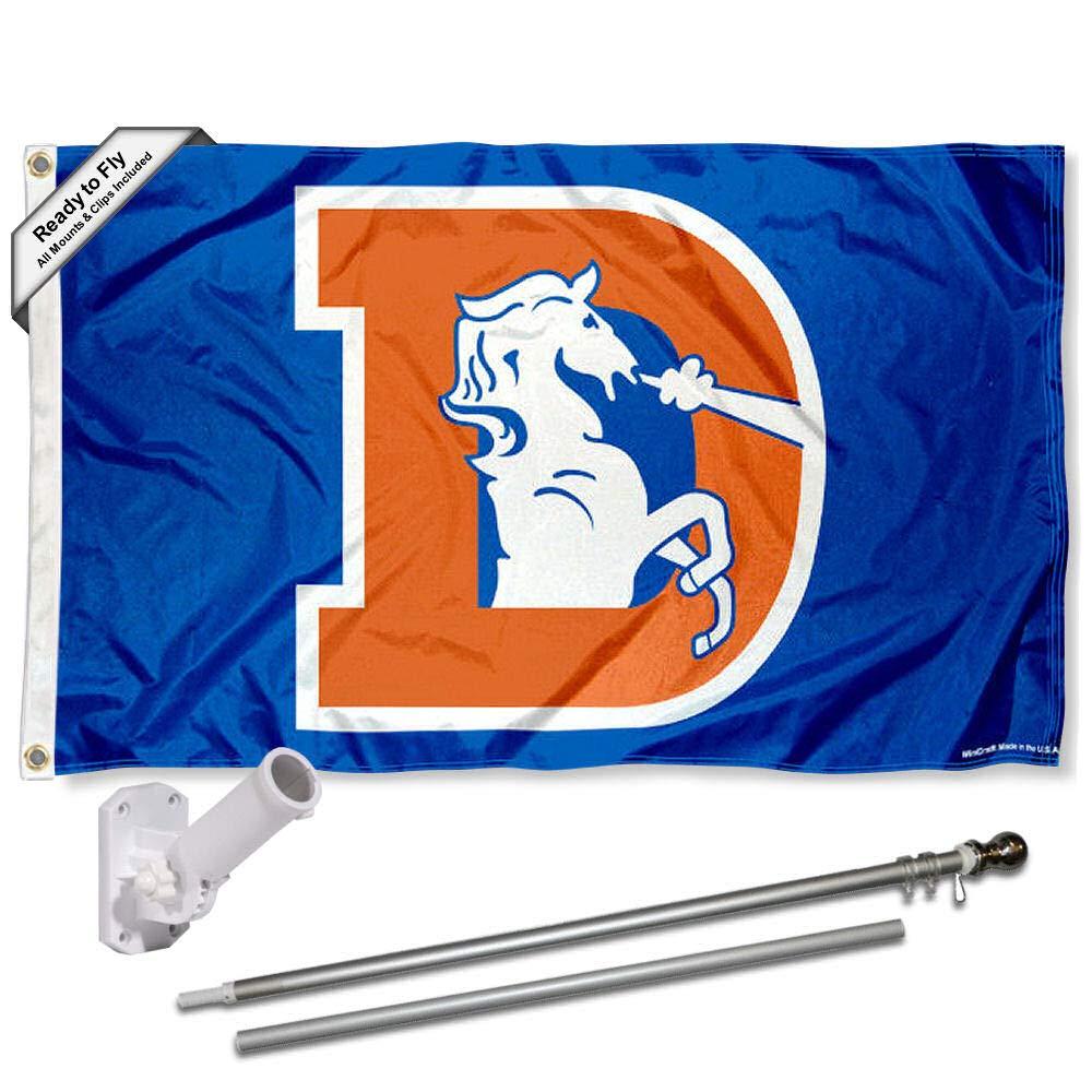Denver Broncosレトロ国旗ポールとブラケットキット   B01MSQHYO2