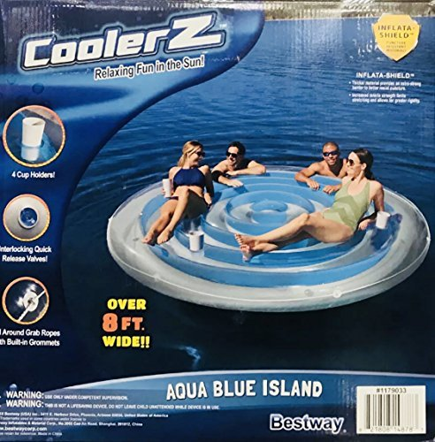 4 Person Cooler Z Blue Caribbean Floating Island Inflatable in Water with Cooler & Cup Holders [並行輸入品]   B07CNQP8Y5