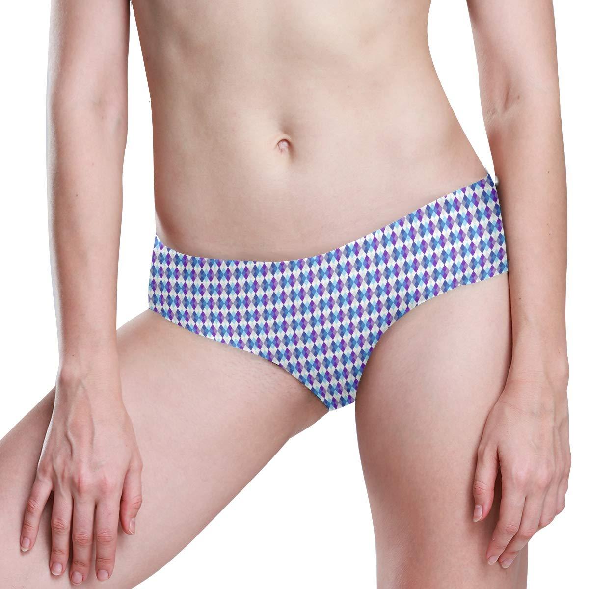 Geometric Pattern with Rhombus Purple Seamless Underwear Invisible Bikini No Show Women Panties