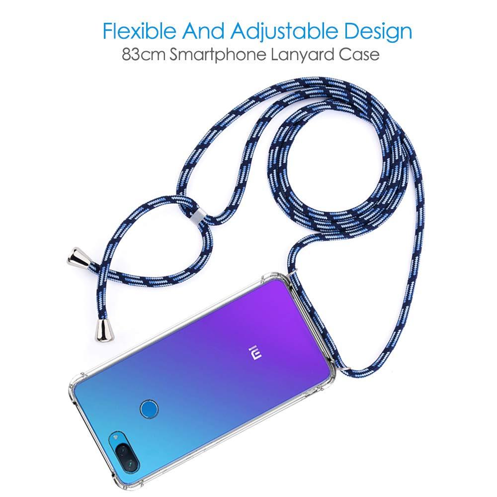 CLM-Tech Carcasa con Cuerda para Colgar Compatible con Xiaomi Mi 8 Lite Funda Silicona Transparente con Cordon para Llevar en el Cuello Rojo Amarillo Gris
