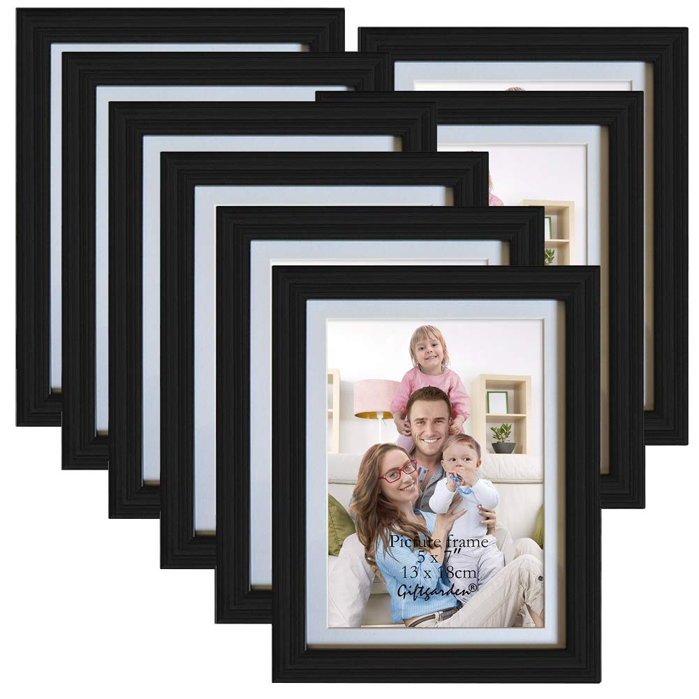 Giftgarden 5x7 Inch Picture Frame Set Display Photo 5x7, 8 Pcs Black