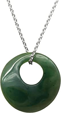 Pendant Made of Jade Ball Green /& 925 Silver Pendant Necklace Womens