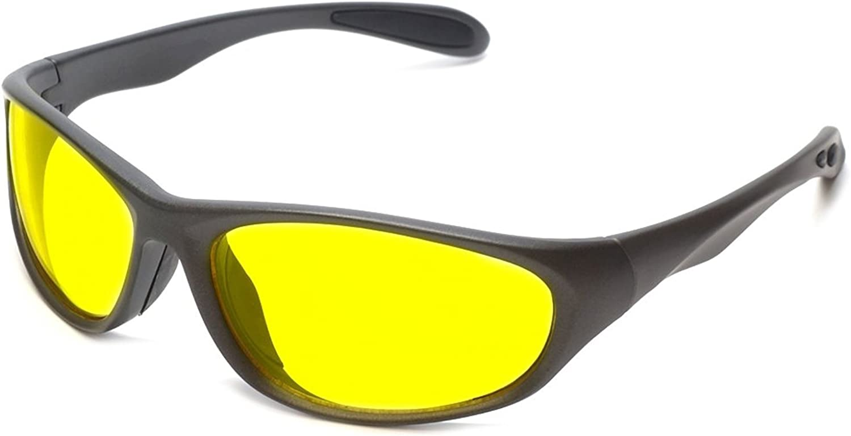 Lente Amarillo conducci/ón nocturna gafas envolventes policarbonato irrompible 100/% UV400/lente I-Sential carcasa r/ígida y gamuza