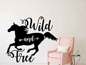 Horse Wall Decor - Wild and Free -Vinyl Wall Decal For Girl's Bedroom, Horse Themed Decor or Horse Birthday Decorations- Cabin, Ranch, Equestrian Center - Animal Lover Wall Sticker