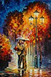 100% Hand Painted Oil Paintings Modern Abstract Paintings Wall Art Paintings Romantic Rainy Night Home Decor (36X54 Inch, Decor 10)