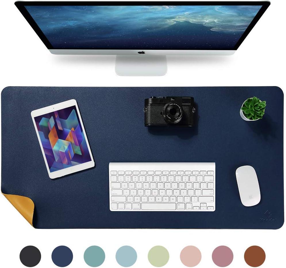 Knodel Alfombrilla de escritorio, Estera del escritorio de oficina, Vade para escritorio hecho de cuero PU, alfombrilla del escritorio del ordenador portátil, Doble cara (Azul oscuro / Amarillo)