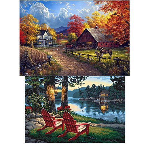 2 Pack 5D DIY Diamond Painting Set Full Drill Arts Crafts Wall Stickers For Living Room Village Farm(12X18 inches)Village River(12X16 inches) by HaiMay