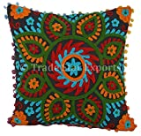 Suzani Cushion Cover, Square Pillow case, 24x24 Euro Sham Cover, Indian Outdoor Cushion, Embroidered Pillow Shams, Decorative Uzbek Pillows, Boho Cushions,Throw Pillow Cover (Pattern 2)