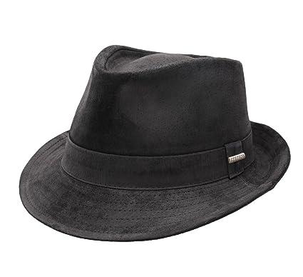 Stetson - Trilby Hat Leather Men Medula - Size XL - Noir-1  Amazon ... 95692894bd1