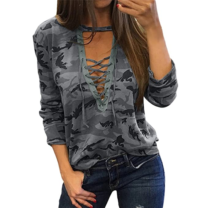 Hibote Mujer Sexy Camiseta Camuflaje V Cuello Lace Up Halter Top Gris S