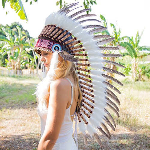 Novum Crafts Feather Headdress | Native American Indian Inspired | Dark Brown (Indian Chief Headdress For Sale)