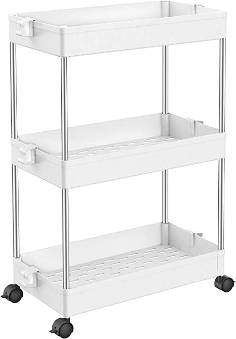SPACEKEEPER Slim Storage Cart, 3 Tier Bathroom Organizers Rolling Utility Cart Slide Out Storage Shelves Mobile Shelving Unit Organizer for Office, Kitchen, Bedroom, Bathroom, Laundry Room, White