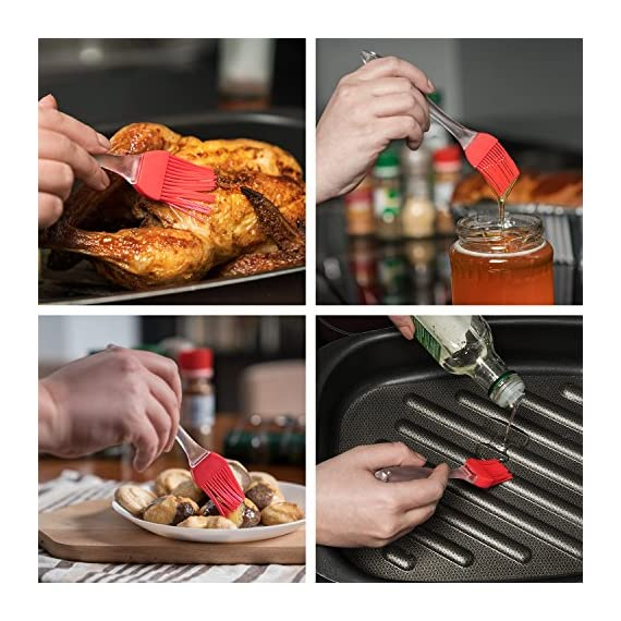 pannoramic 2xGloves Ove BBQ Silicone Heat Resistant Cooking Set Kitchen Mitts Pot Holder Including 1xBrush Basting Silicone Baking Grilling Oil Pastry Bakeware Tool 6 MAXIMUM PROTECTION AND TOP QUALITY SET. Our Ove Glove Non Slip Five Finger Exclusive Flame Design Heat Resistant 100% Waterproof, Easy To Rinse On A Dishwasher Safe Or Throw In The Sink, FDA Approved SUPER SET- ONLY THE BEST FOR YOU- Quality and the satisfaction of our customers is the most important for us. Make cooking and grilling more exciting, effortless and safer with this 3 Great Tools. This SUPEIOR VALUE SET ARE FUNCTIONALLY MATCHED AND VERY REASONABLY PRICED WITH 100% MONEY BACK SATISFACTION GUARANTEE. INCLUDING PREMIUM RESISTANT BASTING SILICONE BRUSH Ideal In The Kitchen When Cooking And Baking Pastry, Grill BBQ, Deserts, Marinades On Meat Spread Glazes, Sauces. Ergonomic Comfort Grip Handel, Heat Resistant. Perfect For Spreading Butter, Oil, Egg, Honey, Glazes Vegetables And Pastries. Designed to Mop up and Hold Generous Amounts of Liquid (BBQ Sauce, Butter Glaze) more Efficiently than your Average Basting Brushes. IS MORE LIKE THE QUIET MEMBER OF THIS SET BUT IT'S EFFICIENT, CONVENIENT, AN