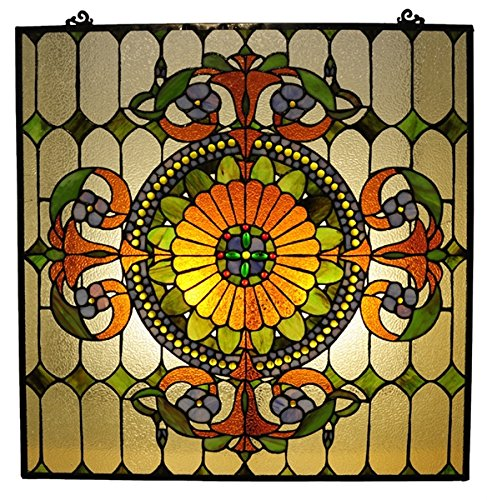 Chloe Lighting Stained Glass Victorian Window Panel 25X25 ()