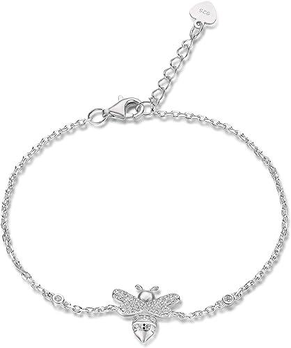 925 Sterling Silver CZ Cubic Zirconia Charm Chain Bracelet Women Lady Jewelry