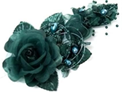 Amazon 3 Hunter Green Silk Flowers Pearl Organza Corsages 5x