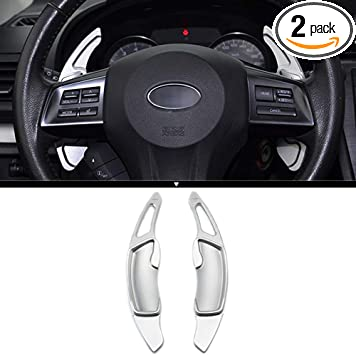 X AUTOHAUX Pair Aluminum Alloy Black Steering Wheel Shift Paddle Shifter Extension Cover for Subaru BRZ Forester Impreza WRX Legacy Outback XV Crosstrek