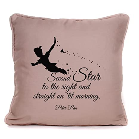 Peter Pan Quote Second Star to The Right Throw Pillowcase |18x18 Inch Disney Cushion Pillow Cover
