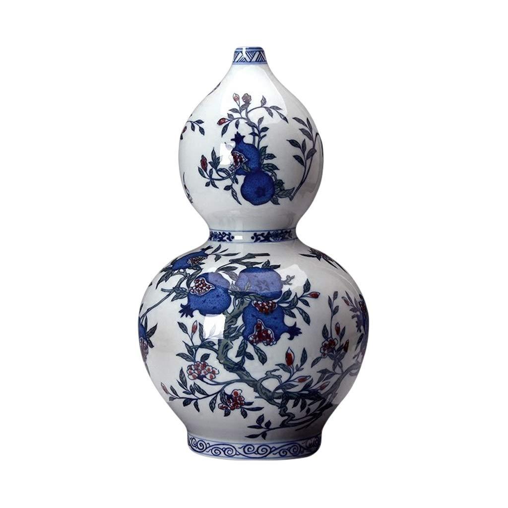 花瓶セラミック花瓶青と白釉赤手描き多色三フルーツフィギュアひょうたん中国風リビングルームの装飾 LQX B07SHF5VJD