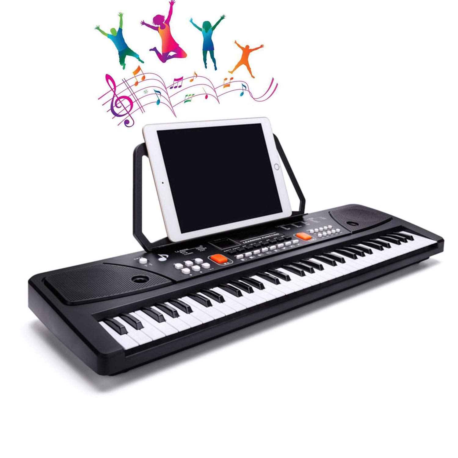 LYBALL Kids Keyboard 61 Keys Piano Multi-Function LED Musical Piano Rechargable Electronic Keyboard & Sheet Music Stand for Kids Birthday (61 Keys(24.8 Inch)) (61keys(24.8inch)) by LYBALL