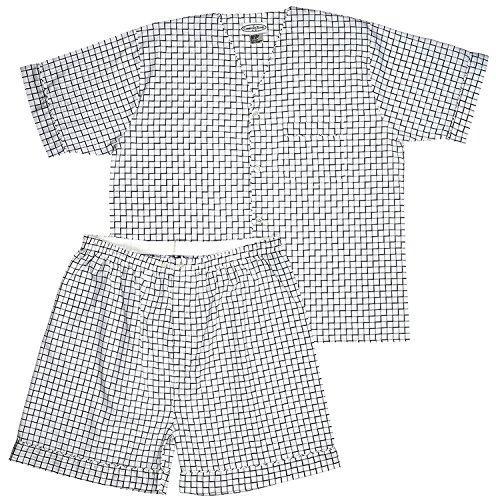 Men's Woven Pajama V-Neck Sleepwear Short Sleeve Shorts and Top Set, Sizes S/4XL -Black & White Plaids - - Sleeve Short Top Woven Mens