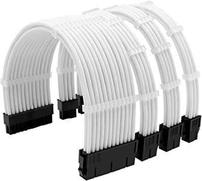 White Sleeved Cables PSU Extension Kit 18AWG 30cm ATX 24-pin,CPU4+4-pin,PCI-E 6+2-pin,PCI-E 6-pin for ATX Power Supply Cable with Black Cable Comb
