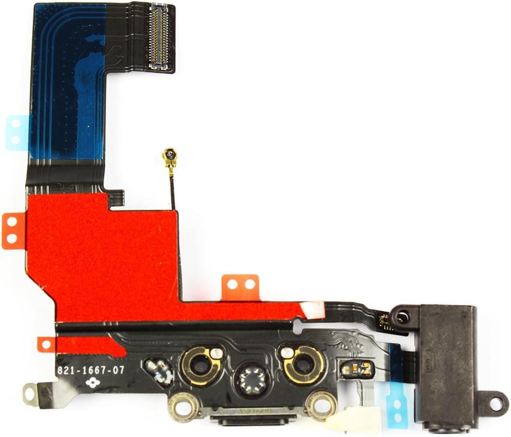 SoSav Conector de Carga + Antena gsm + Toma Jack + Micro para iPhone 5S Negro