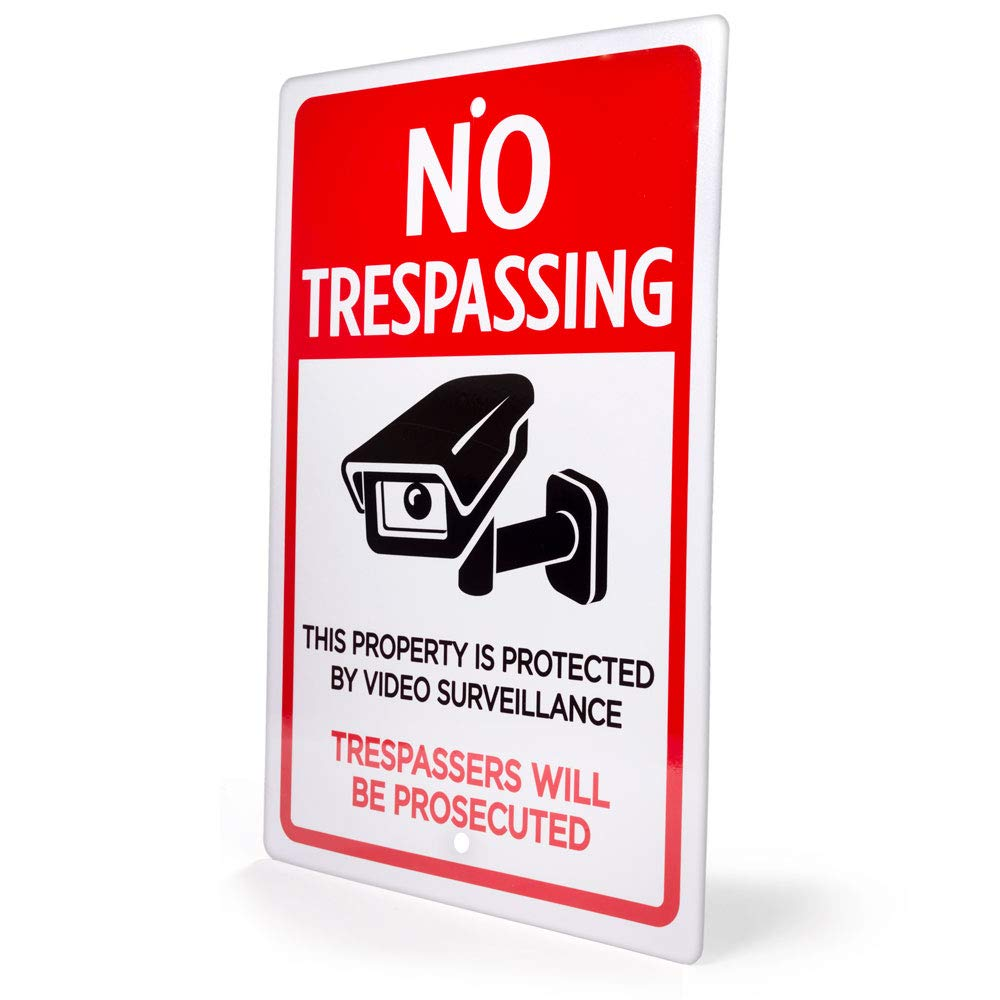 Large 18 x 12 Inch Size! Deluxe NO TRESPASSING VIDEO SURVEILLANCE Sign