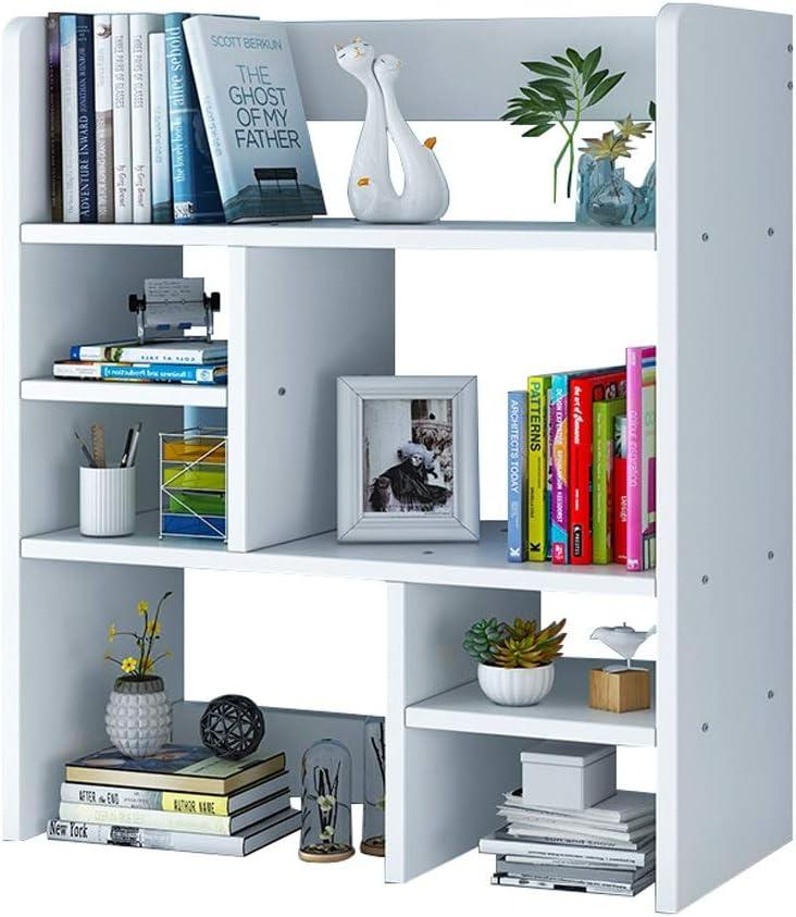 Amazon Com Book Case Bookshelf Multi Layer Creative Shelf Desk Home Bedroom Desktop Storage Locker Small Shelf With Drawer Bookshelf Fanjiani Color White Size No Drawers Furniture Decor