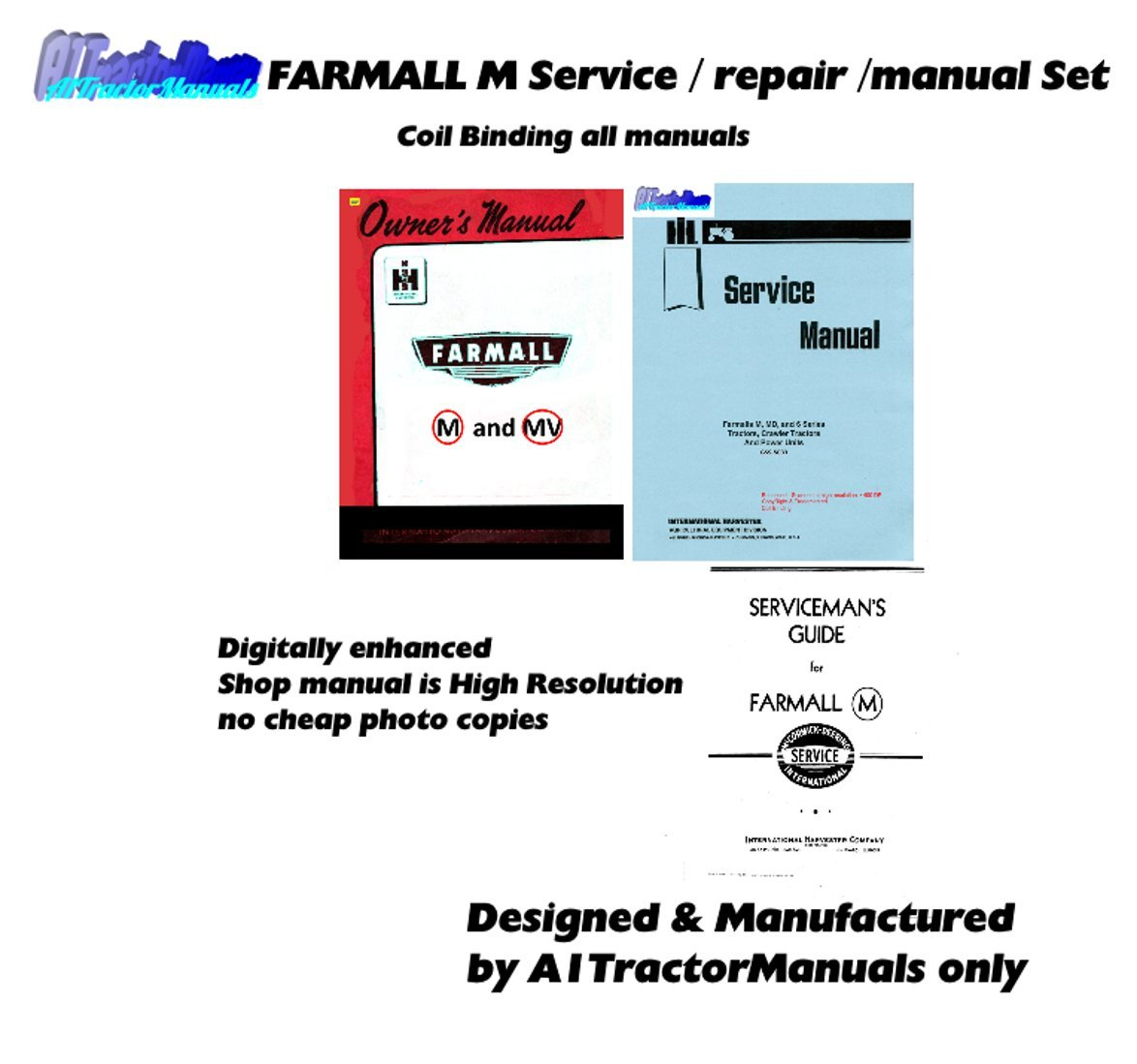 Amazon.com : enhanced Farmall M Mv Tractor Service Manual Set Owner  Operator Repair Shop : Garden & Outdoor