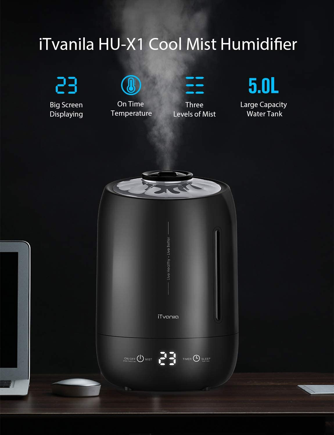 iTvanila Cool Mist Humidifier, 5L Air Humidifiers for Bedroom Living Room Office,Auto Shut off Whisper Quite Air Humidifiers,last more than 40 hours