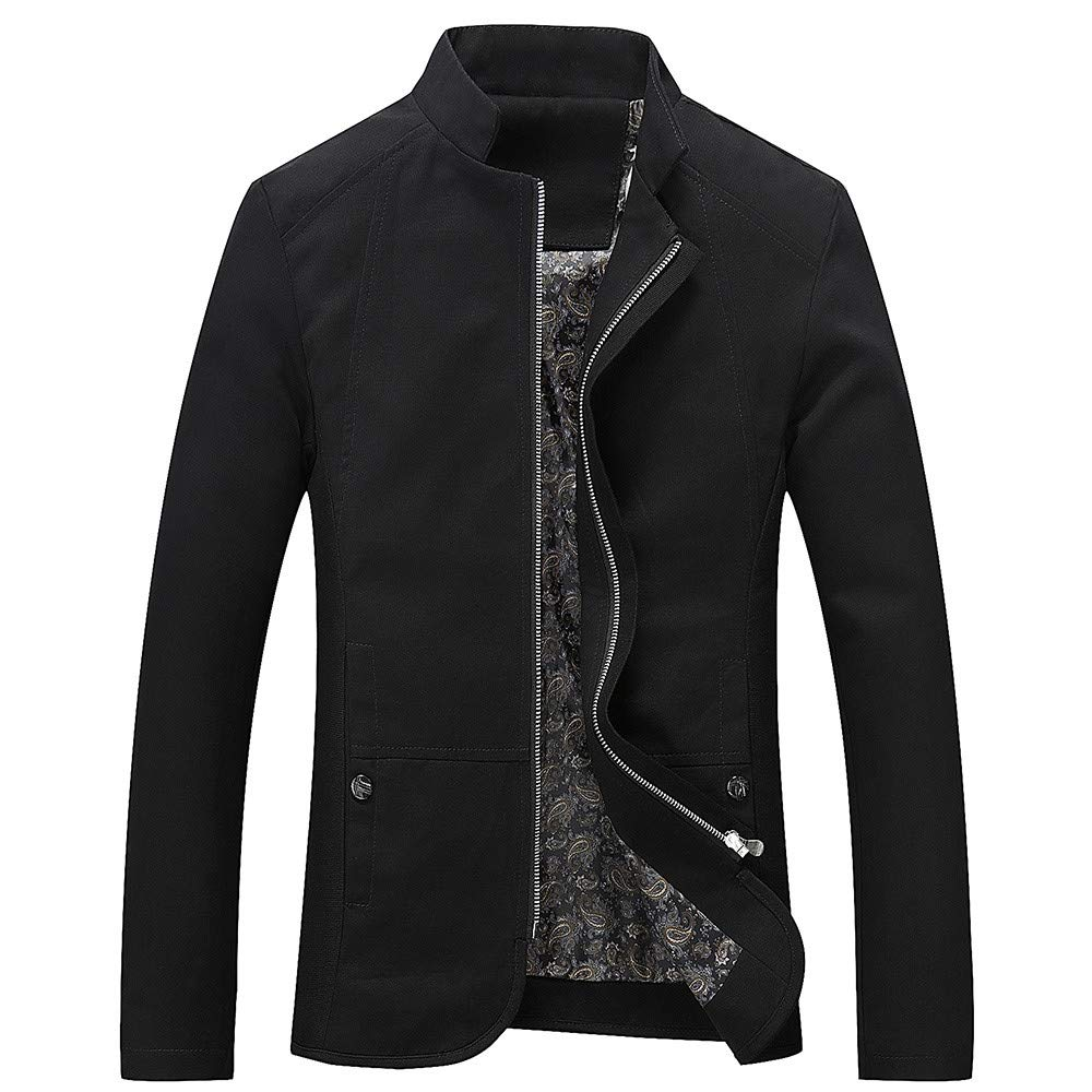 MakeupStore Men's Active Sweatshirts Men Rain Jacket Men's Autumn Winter Casual Long Sleeve Solid Stand Zipper Jacket Top Blouse (Black, XL)