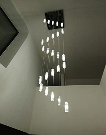 Poersi Spiral Chandelier Staircase Lighting Spiral Crystal Chandelier For  Stairwell