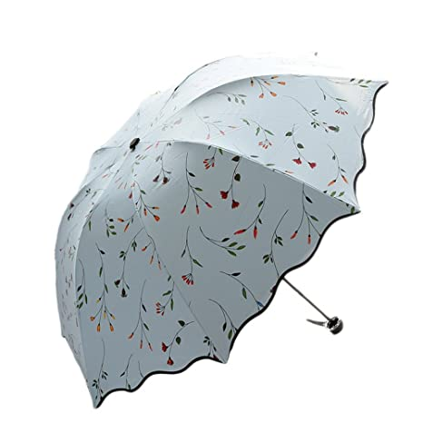 Paraguas vintage azul cielo plegable bolso, trabajo, paseos, viajes, excursiones.
