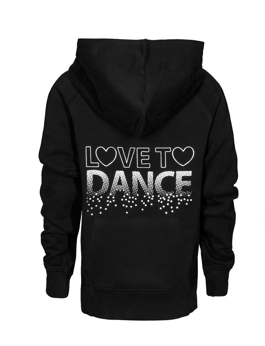 Brody & Co. Childrens Dance Hoodie Girls Sweatshirts Tops Hoodys Diamante Love to Dance Silver Foil Logo Gym Workout Play