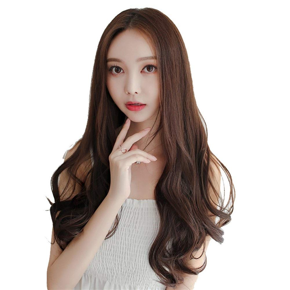 KX-QIN U-shaped half headgear long curly hair high temperature silk wig hair piece natural simulation no trace invisible chemical fiber in the wig Attend the party (Color : Deep maroon 65CM) by KX-QIN