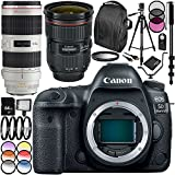 Canon EOS 5D Mark IV DSLR Camera with EF 24-70mm f/2.8L II USM Lens & EF 70-200mm f/2.8L IS II USM Lens 28PC Accessory Kit - Includes 64GB Memory Card + MORE
