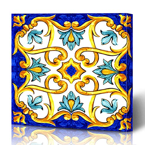 - Ahawoso Canvas Prints Wall Art 12x12 Inches Vintage Watercolor Flower On Italian Tiles Majolica Hand Cyan Blue Pattern Arabic Motifs Ethnic Decor for Living Room Office Bedroom