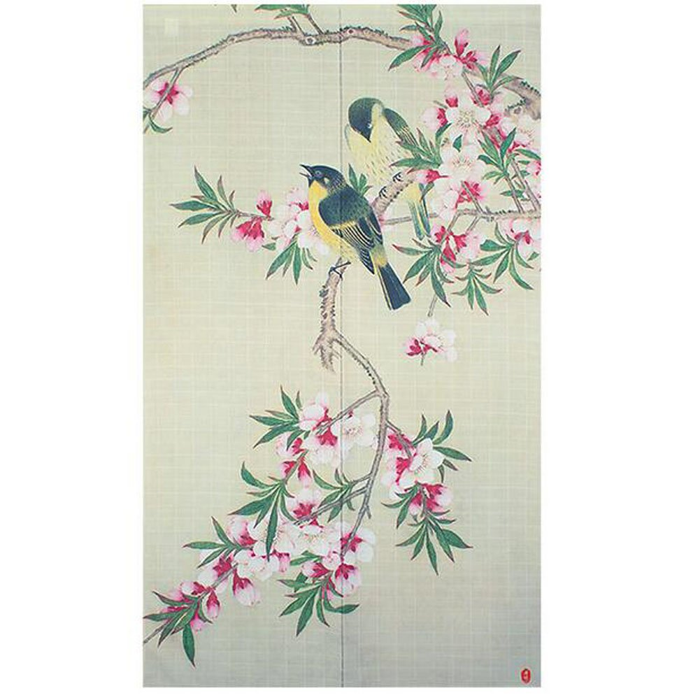 Xiaopangzi Traditional Chinese Flower Trees Door Curtain Japanese Noren Curtain Bedroom Curtain Doorway Curtain (B)