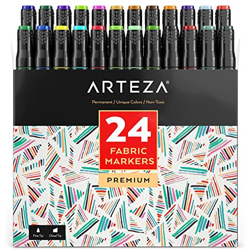 Best Prices! Arteza Fabric Markers, Unique 24 Colors, Permanent Dual-Tip Fabric Pens (Set of 24)