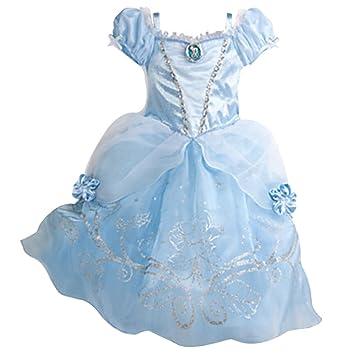 Moin Vestido de falda de gasa Disfraz de Princesa Cenicienta azul Linda Hermosa Para Niñas