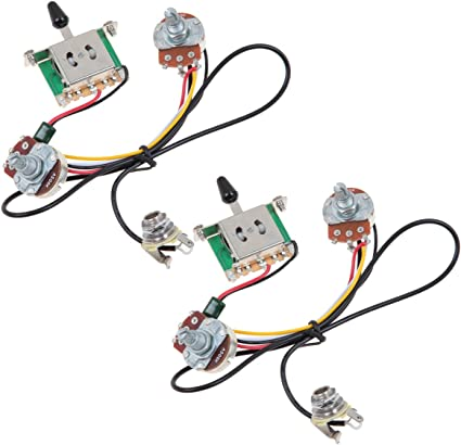 Amazon.com: Kmise Two Pickup Guitar Wiring Harness 3 Way Blade Switch 500K  Great w/Humbuckers Set of 2: Musical Instruments | Guitar 3 Way Switch Wiring Diagram |  | Amazon.com
