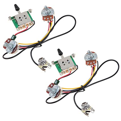 amazon com kmise two pickup guitar wiring harness 3 way blade10 Sets Two Pickup Guitar Wiring Harness 3 Way Blade Switch 500k W #1