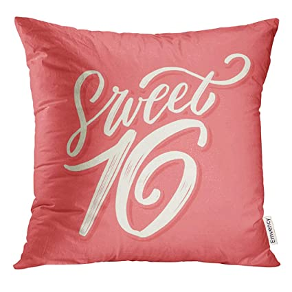Amazon.com: Emvency Throw Pillow Cover Pink Sixteen Sweet 16 ...
