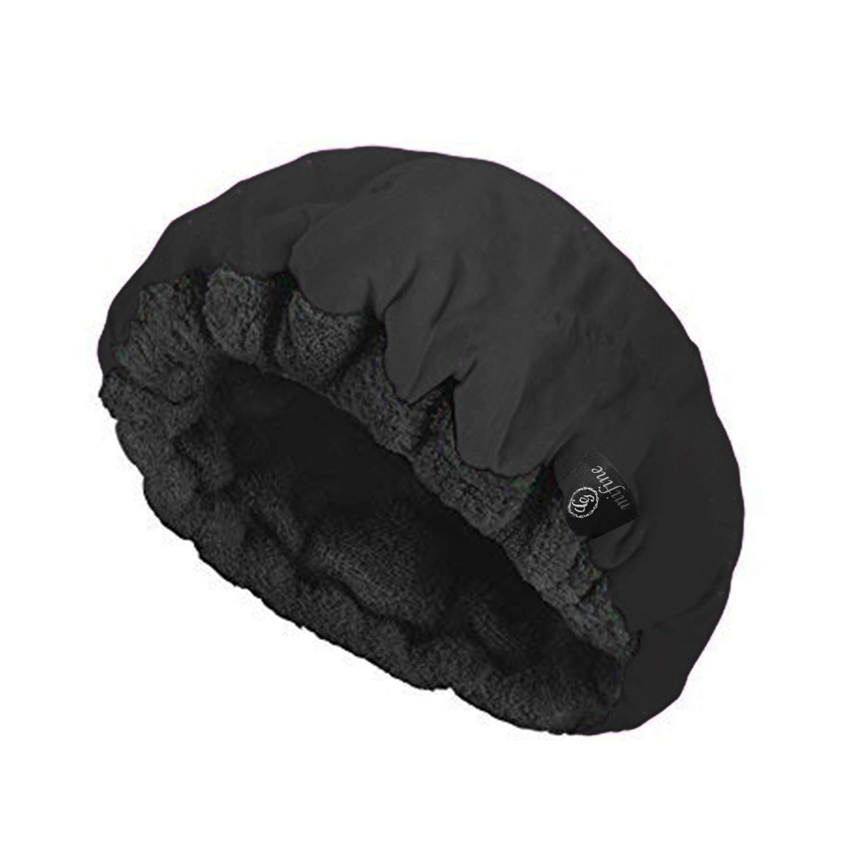 Cordless Deep Conditioning Heat Cap - Microwavable Heat Cap for Deep Conditioning Hair Therapy, 100% Natural Cotton, Flaxseed Seed Interior for Maximum Heat Retention (Black)