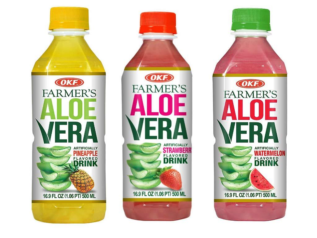 OKF Farmer's Aloe Vera Drink, Pineapple, Strawberry and Watermelon, 16.9 Fluid Ounce (Pack of 20 each)