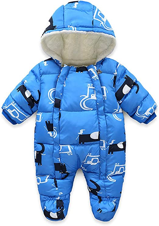 Lemohome Baby Snowsuit Romper Fleece Lined Outwear Winter Warm Outfit with Gloves