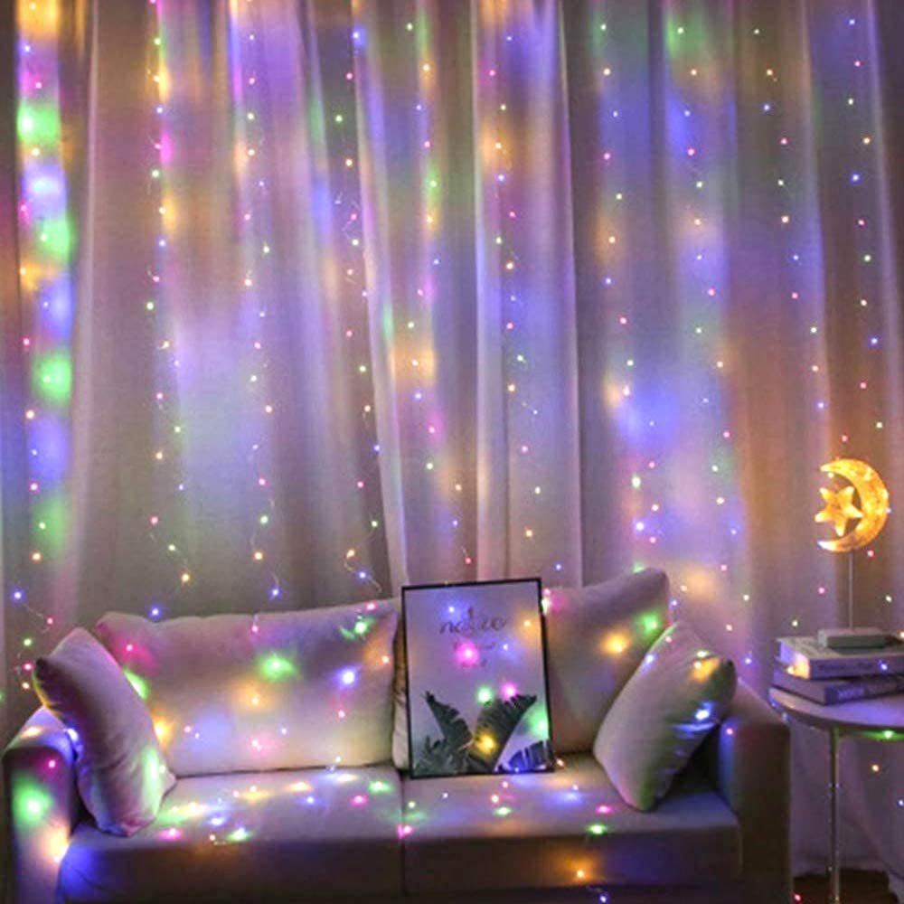 JTL QAKTA Window Curtain Lights 300 LED, Remote, 8 Lighting Modes, Decoration Bedroom Wall Party Indoor Outdoor Decor,(Curtain is Not Included) (Multicolor)