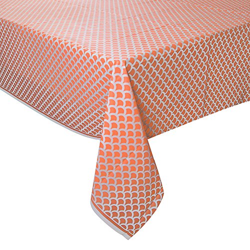 Coral & White Scallop Print Plastic Tablecloth, 108
